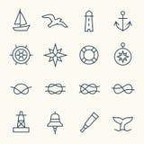 Iconos náuticos ilustración del vector
