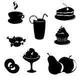 Iconos negro-blancos del alimento y de la bebida fijados Foto de archivo libre de regalías