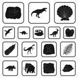 Iconos negros de diversos dinosaurios en la colección del sistema para el diseño Ejemplo animal prehistórico del web de la acción ilustración del vector