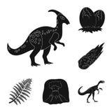 Iconos negros de diversos dinosaurios en la colección del sistema para el diseño Ejemplo animal prehistórico del web de la acción libre illustration