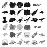 Iconos negros de diversos dinosaurios en la colección del sistema para el diseño Ejemplo animal prehistórico del web de la acción stock de ilustración