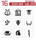 Iconos negros de Grecia del vector fijados Imágenes de archivo libres de regalías