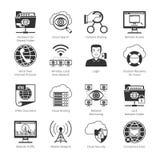 Iconos negros de Internet y de la red Imágenes de archivo libres de regalías