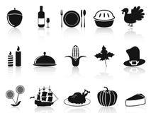 Iconos negros de la acción de gracias fijados Foto de archivo libre de regalías
