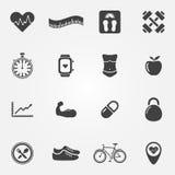 Iconos negros de la aptitud fijados Imágenes de archivo libres de regalías