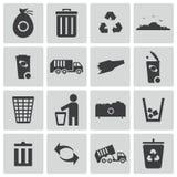 Iconos negros de la basura del vector Ilustración del Vector