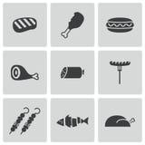 Iconos negros de la carne del vector fijados Imagenes de archivo