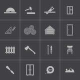 Iconos negros de la carpintería del vector fijados Imagen de archivo