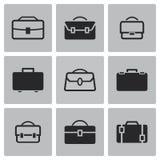 Iconos negros de la cartera del vector fijados Imagen de archivo