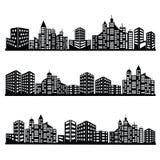 Iconos negros de la ciudad del vector fijados