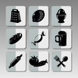 Iconos negros de la cocina Imagenes de archivo