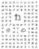 Iconos negros de la construcción del vector fijados Foto de archivo