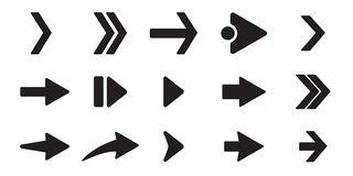 Iconos negros de la flecha fijados Diverso concepto de la forma, botón de Internet aislado en el fondo blanco, diseño gráfico Mue stock de ilustración