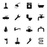 Iconos negros de la fontanería del vector fijados Imagen de archivo