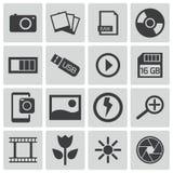 Iconos negros de la foto del vector Ilustración del Vector