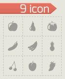 Iconos negros de la fruta y verdura del vector fijados Imagen de archivo libre de regalías