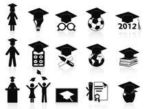 Iconos negros de la graduación fijados ilustración del vector