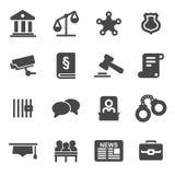 Iconos negros de la justicia del vector fijados Foto de archivo libre de regalías