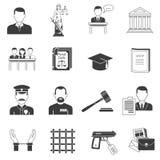 Iconos negros de la justicia fijados Fotos de archivo