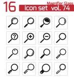 Iconos negros de la lupa del vector Stock de ilustración