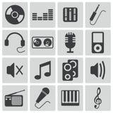 Iconos negros de la música del vector Stock de ilustración