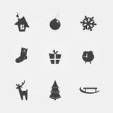 Iconos negros de la Navidad Foto de archivo