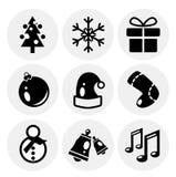 Iconos negros de la Navidad del vector. Conjunto del icono Imagenes de archivo