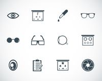 Iconos negros de la optometría del vector Fotografía de archivo libre de regalías