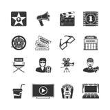 Iconos negros de la película fijados Imagenes de archivo
