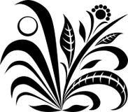 Iconos negros de la planta de la flor Logotipo orgánico del vector Stock de ilustración