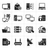 Iconos negros de la red de ordenadores y de Internet stock de ilustración