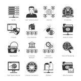 Iconos negros de la red y de Internet Fotos de archivo
