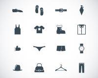 Iconos negros de la ropa del vector Foto de archivo libre de regalías