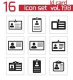 Iconos negros de la tarjeta de la identificación del vector fijados Fotografía de archivo libre de regalías