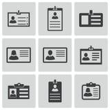 Iconos negros de la tarjeta de la identificación del vector fijados Foto de archivo libre de regalías