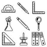 Iconos negros de la tinta de las mercancías negras de la escuela Parte 3 Imagen de archivo
