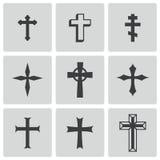 Iconos negros de las cruces del cristiano del vector fijados Imagenes de archivo