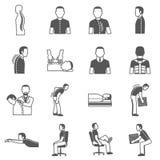Iconos negros de las enfermedades de la espina dorsal libre illustration