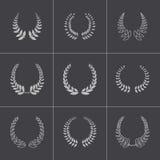 Iconos negros de las guirnaldas del laurel del vector fijados Imagen de archivo libre de regalías