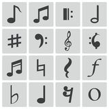 Iconos negros de las notas del vector Ilustración del Vector