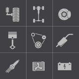 Iconos negros de las piezas del coche del vector fijados Imagenes de archivo