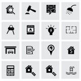 Iconos negros de las propiedades inmobiliarias del vector fijados Imagen de archivo