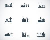 Iconos negros de las señales del vector fijados Fotografía de archivo libre de regalías