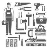 Iconos negros de las siluetas de las herramientas de la carpintería fijados Foto de archivo libre de regalías