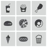 Iconos negros de los alimentos de preparación rápida del vector fijados Fotos de archivo libres de regalías