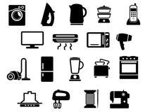 Iconos negros de los aparatos electrodomésticos fijados Foto de archivo libre de regalías