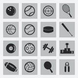 Iconos negros de los deportes del vector fijados Fotos de archivo libres de regalías