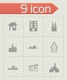 Iconos negros de los edificios del vector fijados Imagen de archivo libre de regalías