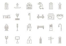 Iconos negros de los elementos de la ciudad fijados Foto de archivo