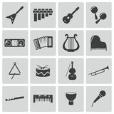 Iconos negros de los instrumentos de música del vector fijados Imagen de archivo